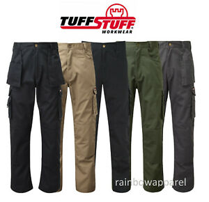 Mens Tuff Stuff Pro Work Trouser Premium Combat Cargo Style Knee Pad Pockets 711