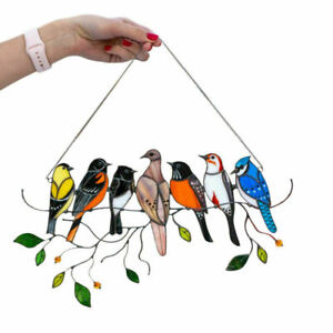 Stained Glass Birds on a Wire Window Panel Hanging Sun Catcher Hardware Ornament