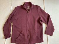 LL Bean Cotton Full Zip Jacket Purple Front Sweater Women's Medium