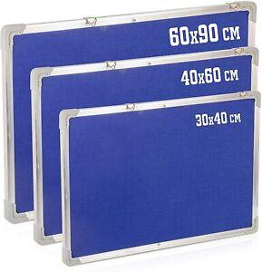 Blue Felt notice board / Pin board Aluminium frame 200x 300 & 400 x 600 mm