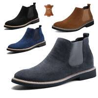 UK Mens Real Leather Chelsea Boots Retro Walking Ankle Smart Slip On Shoes Size