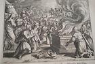GRAVURE SUR CUIVRE PHILISTINS HOLOCAUSTE -BIBLE 1670 LEMAISTRE DE SACY (B79)