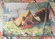 """HINTERMEISTER SIGNED LITHO CARD PRESSBOARD PRINT 21""""x16"""" father Son Camping Tent"""