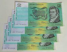 Two Dollar Australia Notes Johnston and Fraser LKL 918325,27,28,29 Exc Cond 95