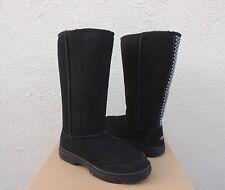 UGG BLACK ULTIMATE TALL BRAID SUEDE/ SHEEPSKIN BOOTS, WOMEN US 11/ EUR 42 ~NIB