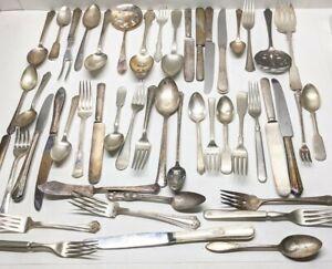 Lot 49 Pc Silverplate Spoons forks Kni Serving Vintage Flatware Silverware Craft