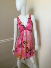 Ginger & Java NEW! 100% Silk Bright Pink Butterfly/Floral Fit & Flare Dress Sz 8