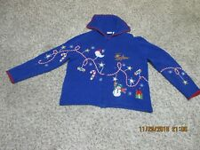 Women s Zippered UGLY Decorated Santa and Rudolph Sweater Size L 8485713cb