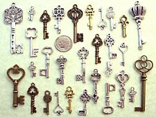 32 New Steampunk Keys Beads Lock Old Vintage Antique Look Jewelry Crafts *5