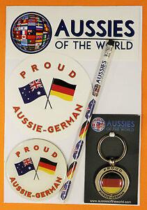 PROUD AUSSIE - GERMAN GIFT PACK AUSTRALIAN SOUVENIR KEYRING MAGNET STICKER