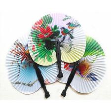 Chinese Folding Hand Paper Fan Flower Flower Bird Printed Fancy Dress Accessory