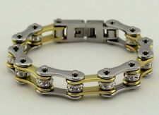 Ladies Stainless Steel W Crystals Motorcycle Bike Chain Bracelet Gold-Silver