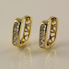 Yellow Gold Filled Square Clear Cubic Zirconia CZ Drop Hoop Earrings UK 258