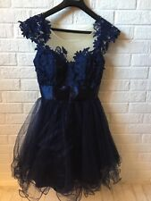 Sean Collection Blue Embroidered Lace Tulle Prom Holiday Dress Size 6 Women��s