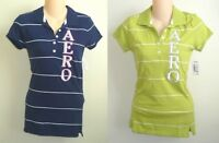 Womens AEROPOSTALE Striped Logo Jersey Polo Shirt NWT #4016