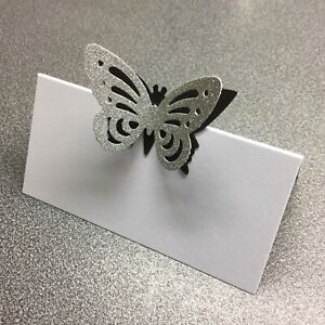 10 White Name Place Cards With A Black And Silver Glitter Butterfly