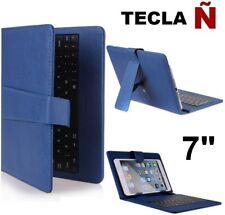 """Funda con teclado tablet 7"""" Universal Teclado español Ñ Piel Sintética OFERTA"""