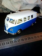 "NICE DIECAST VOLKSWAGEN T1/2 , BLUE/WHITE, 1:32 SCALE , 5"", PULL BACK ACTION,NEW"