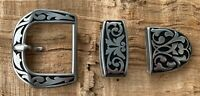 Western/Amish Engraved Stainless Belt Buckle Set - Buckle, Keeper & Tip 1 1/2""