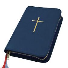 Großdruck Gotteslob Hülle Gotteslobhülle Leder blau dunkelblau mit Kreuz gold