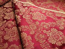 Sample 3x6 Vintage Brocade Upholstery Drapery Fabric Elegant Claret Red Damask