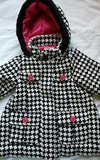 Toddler Girl's Osh Kosh Black White Pink Hooded Jacket Coat Hounds Tooth Size 3