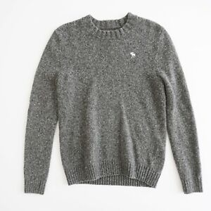 Abercrombie & Fitch Mens Crew Neck Sweater Size Small Grey Wool Blend Heavy Knit