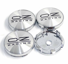 "4x 2.36"" Chrome&Black OZ Racing Emblem Wheel Center Rim Hub Cap For Audi BMW GMC"