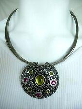 Chico's 10 Strand Wire Necklace Silver Tone Pendant w/ Multi Color Stones EC