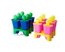 Frozen ICE Pop Molds Popsicle Maker Ikea NEW Set of 12 Blue Green Yellow Pink