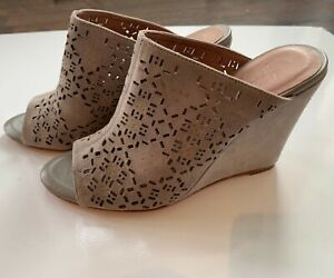 Joie Anita Laser Cut Leather Wedges Grey Size 37 Shoes Heels