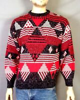 vtg 80s Santana Ltd. Diamond Geometric Knit Sweater Crew Southwest Ugly Cosby S