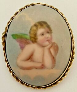 ANTIQUE MINIATURE PAINTING OF REYNOLDS ANGEL ROLLED GOLD BROOCH