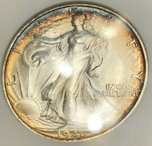1946-S Walking Liberty Half Dollar ANACS MS65 Blue Rainbow Toning Blazer Old Hld