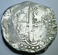 1600s Spanish Potosi Silver 8 Reales Eight Real Dollar Pirate Treasure Cob Coin