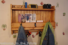 """24"""" Handcrafted Wooden Rustic wall mount Mail Key Organizer, Shelf, Coat Rack Md"""