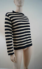 J CREW CUTS EVERYDAY Black & Cream Knit Cotton Striped Sweater Jumper Top Sz:14
