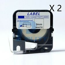 2PK Tape Cassette LM-TP309W (9mm,White) for Max Lettering Machine LM-370A LM-390