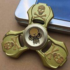 Cráneo De Zinc Metal Triple dedo mano Spinner intranquilo Spinning Juguete De Acero Rodamiento