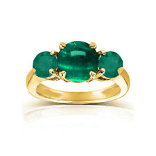 Natural Emerald Round Cabochon and faceted three stones 18k Yellow Gold Ring