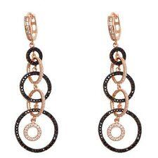 Zirconia Circle Dangle Hoop Earrings 60mm Rose & Black Sterling Silver Cubic
