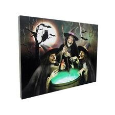 """Witches and Cauldron Lights and Sound Wall Canvas Art 20"""" X 15""""  New"""