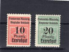 Eisenbahnmarken Frankenstein-Münsterberg-Nimtscher Kreisb.1909 2 W.** (E-43)