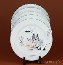 Set of 2 Dinner Plates SUPERB Kutani KUT11, Platinum, Mount Fuji, Water Wheel