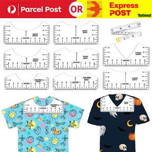 9pcs Vinyl T-Shirt Ruler Guide Alignment Tool Centering Ruler Designs Sew Tools