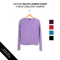 VINTAGE WOMENS RALPH LAUREN CHAPS V-NECK CABLE KNIT JUMPER SWEATER XS S M L XL