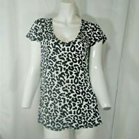 Cotton On Womens Black and White Leopard Print Short Sleeve Shirt Small
