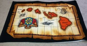 Map of Hawaiian Islands Floral Colorful AJW Bath Beach Towel Terrycloth Hawaii