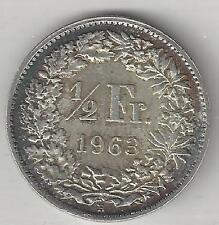 SWITZERLAND,  1963-B,  1/2 FRANC,  SILVER,  KM#23,  ALMOST UNCIRCULATED