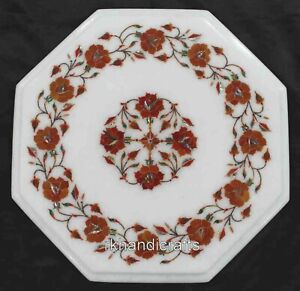 12 Inch Marble Bed Side Table Top Hand Inlaid Coffee Table with Carnelian Stone